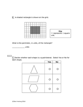 Eureka Math/Engage New York Grade 3:  Module 7 Pretest