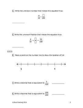 Eureka Math/Engage New York Grade 4:  Module 6 Pretest