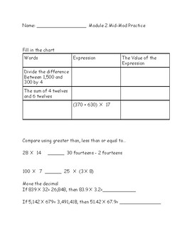 Eureka Math (Engage New York) Grade 5 Module 2- Mid-Mod ...