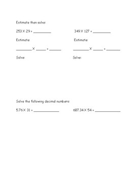 Eureka Math (Engage New York) Grade 5 Module 2- Mid-Mod practice and test