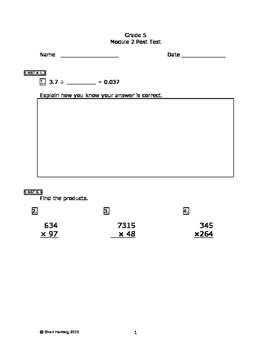 Eureka Math/Engage New York Grade 5:  Module 2 Posttest