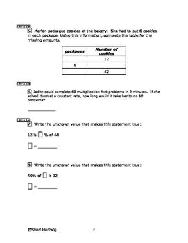 Eureka Math/Engage New York Grade 6:  Module 1 Posttest