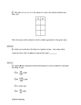 Eureka Math/Engage New York Grade 6:  Module 1 Pretest
