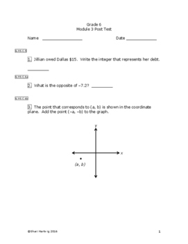 Eureka Math/Engage New York Grade 6:  Module 3 Posttest