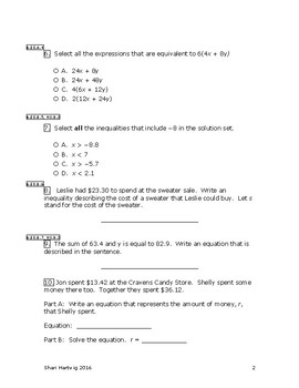 Eureka Math/Engage New York Grade 6:  Module 4 Posttest