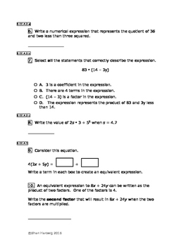 Eureka Math/Engage New York Grade 6:  Module 4 Pretest