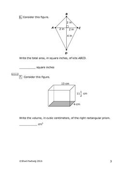 Eureka Math/Engage New York Grade 6:  Module 5 Pretest