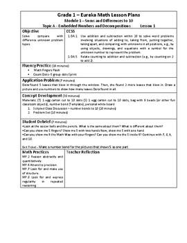 Eureka Math / Engage New York LESSON PLANS, First Grade - Module 6