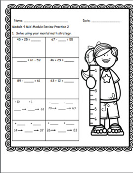 Eureka Math Engage New York Module 4 Mid-Module Review + Task Cards 2nd Grade