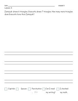 Eureka/ENY  Math First Grade Application Problem Journal Module 5