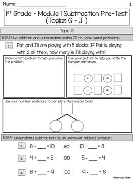 Eureka Math Grade 1 Module 1 Subtraction Assessment BUNDLE