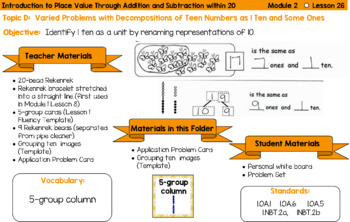Eureka Math Grade 1 Module 2 - Planning Cards with material lists included