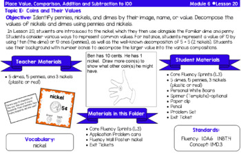 Eureka Math Grade 1 Module 6 - Planning Cards with material lists included