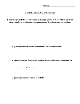 Eureka Math - Grade 3 - Module 1 End of Module Assessment Review Spanish