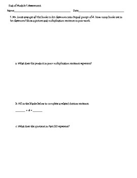 Eureka Math Grade 3 Module 1 Practice Assessment