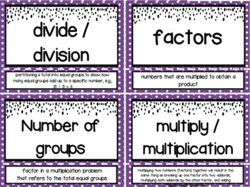 Eureka Math Grade 3 Module 1 Vocabulary Word Wall Cards