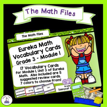 Eureka Math Engage NY Grade 3 Module 1 Vocabulary Word Wall Cards