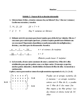 Eureka Math - Grade 3 - Module 3 Mid Module Assessment Review Spanish/English
