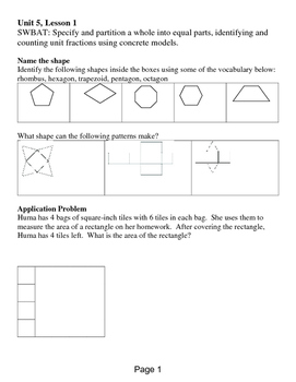 Eureka Math Grade 3 Module 5, Lessons 1 - 11 by Stephen