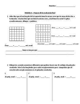 Eureka Math - Grade 3 - Modules 4 EMA Review Bilingual with Modifications