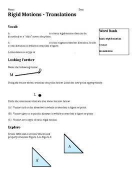 Basic Rigid Motions Worksheet Bundle