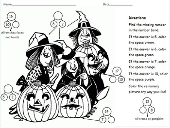 2nd Grade Eureka Math / Engage NY Halloween Color by Number Bond Math Center