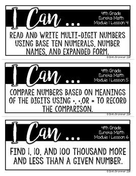 Eureka Math I Can Statements - Fourth Grade ALL MODULES