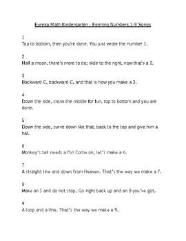 Eureka Math K - Forming numbers 1-9 songs