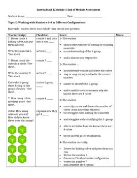 Eureka Math Kindergarten Module 1 End of Module Assessment