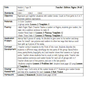 Eureka Engage NY Math Lesson Plans First Grade Module 1