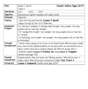 Eureka Math Lesson Plans First Grade Module 1 Sample Freebie Tpt