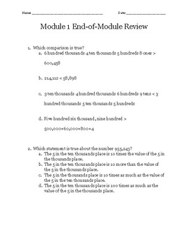 Eureka Math Module 1 End of Module Review Packet