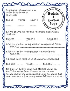 Eureka Math Module 1 Review Page: Grade 4 Place Value