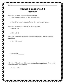 Eureka Math Module 2 Lessons 3-8 Review (Grade 5)