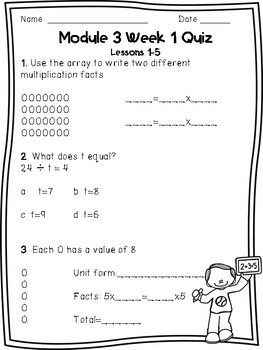 Eureka Math Module 3 Weekly Quizzes