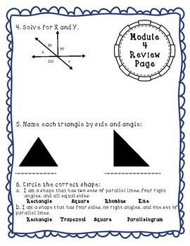 Eureka Math Module 4 Review Page: Grade 4 Geometry