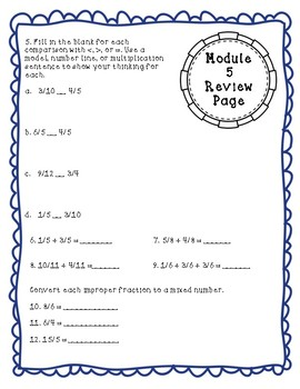 Eureka Math Module 5 Review Page: Grade 4 Fractions