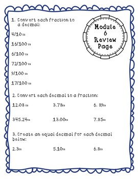 Eureka Math Module 6 Review Page: Grade 4 Decimals