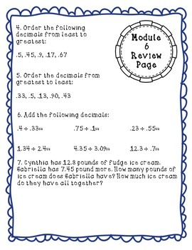 Eureka Math Module 6 Review Page: Grade 4 Decimals