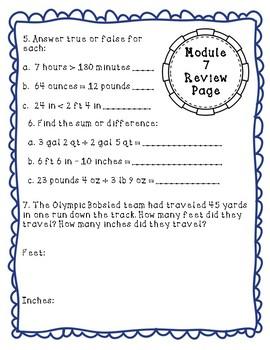 Eureka Math Module 7 Review Page: Grade 4 - Mixed Conversions