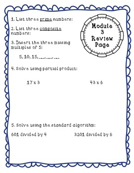 Eureka Math Module Review Pages Grade 4: Review Pages for Each Module Printable!
