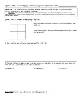Eureka Math Notes: Algebra 1 Module 4 Lesson 2