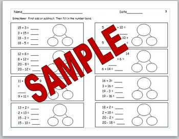 Eureka Math Number Bond Practice  for Module 1  2nd Grade Fact Fluency