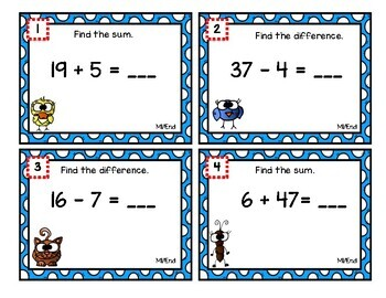 Eureka Math Second Grade Module 1 Review Scoot Task Cards