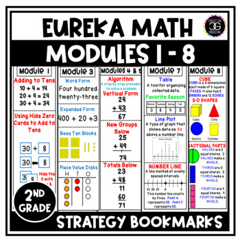 Eureka Math Second Grade Modules 1-8 Strategy Bookmarks BUNDLE