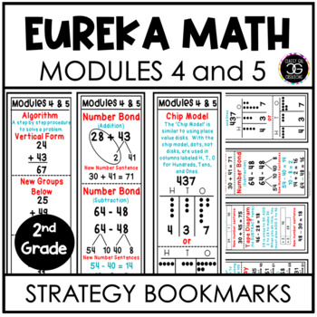 Eureka Math Second Grade Modules 4 and 5 Strategy Bookmarks and Homework Helpers