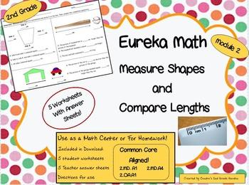 2nd Grade Eureka Math Module 2 Shape Measurement Comparison Worksheets / Centers