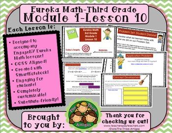 M1L10 Eureka Math-Third Grade: Module 1-Lesson 10 SmartBoard Lesson