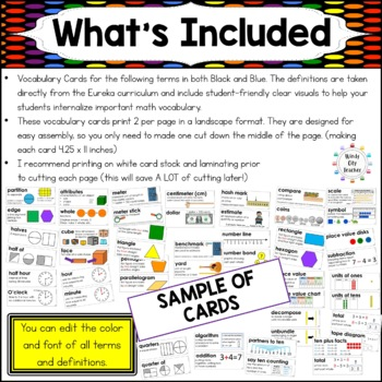 Eureka Math / Engage NY - Vocabulary 2nd Grade Bundle Modules 1-8: Black Font