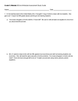 Eureka Math-inspired Grade 5: Module 3 MULTI-USE Assessment Study Guide